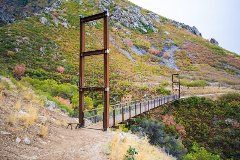Niedźwiadkowy jaru zawieszenia most w jesieni fotografia stock