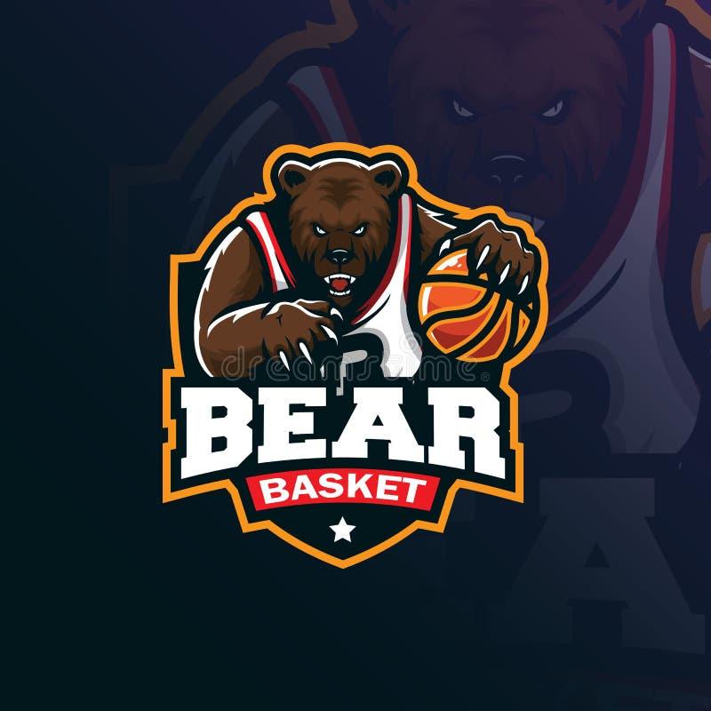 Niedźwiadkowy koszykówki maskotki logo projekta wektor z nowożytnym ilustracyjnym pojęcie stylem dla odznaki, emblemata i tshirt  royalty ilustracja