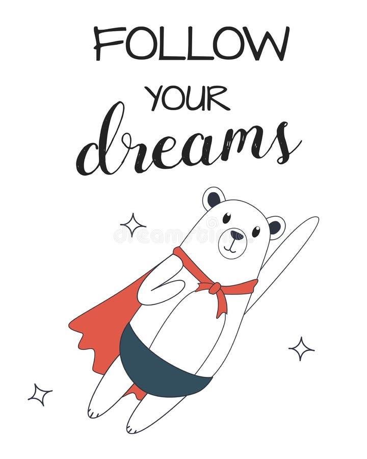 Niedźwiadkowy latanie w niebie za twoje sny royalty ilustracja