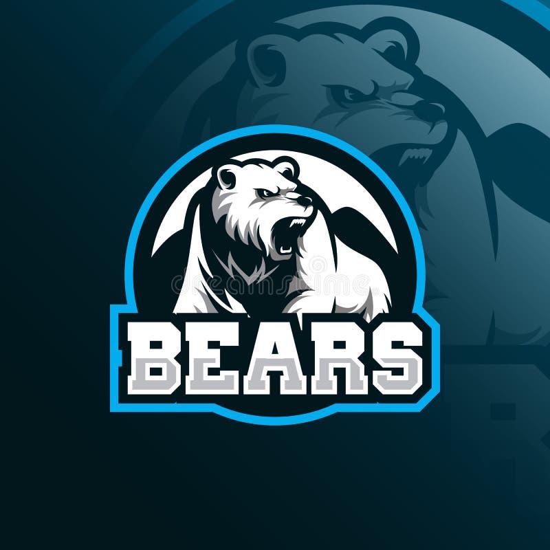 Niedźwiadkowy maskotka logo projekta wektor z nowożytnym ilustracyjnym pojęcie stylem dla odznaki, emblemata i tshirt druku, wści royalty ilustracja