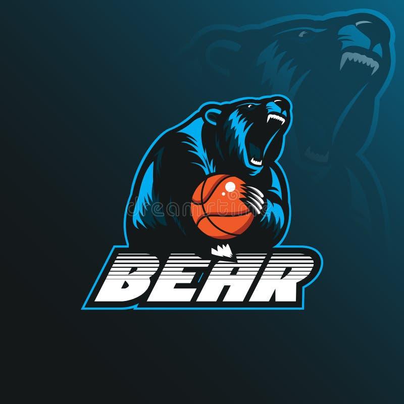 Niedźwiadkowy maskotka logo projekta wektor z nowożytnym ilustracyjnym pojęciem royalty ilustracja