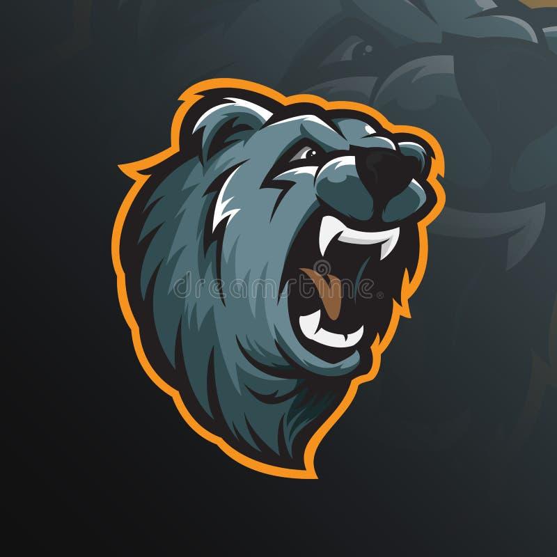 Niedźwiadkowy maskotka logo projekta wektor z nowożytnym ilustracyjnym pojęciem ilustracji