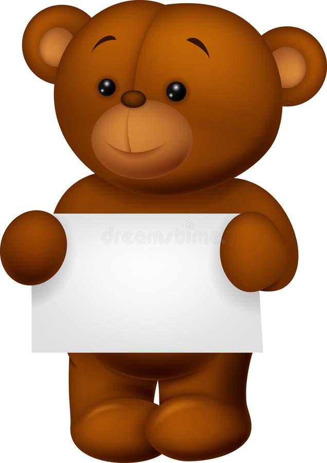 Niedźwiadkowy materiał trzyma pustego papier royalty ilustracja