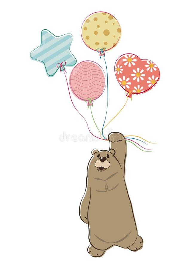 Niedźwiadkowy obwieszenie Z balonami Odizolowywającymi royalty ilustracja