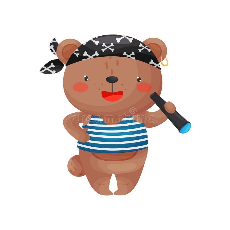 Nied?wiadkowy pirata charakter w kresk ilustracja wektor