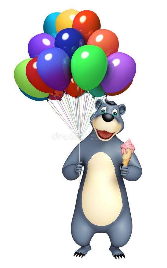Niedźwiadkowy postać z kreskówki z balonem i lody ilustracja wektor