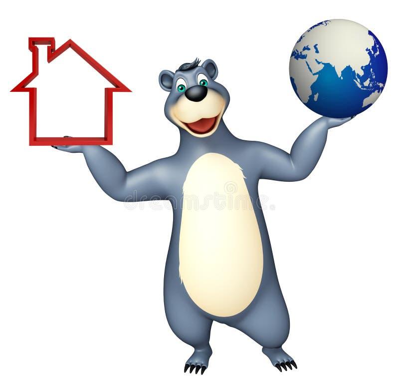Niedźwiadkowy postać z kreskówki z ziemi i domu znakiem ilustracji