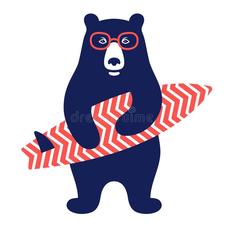Niedźwiadkowy surfingowiec 001 royalty ilustracja