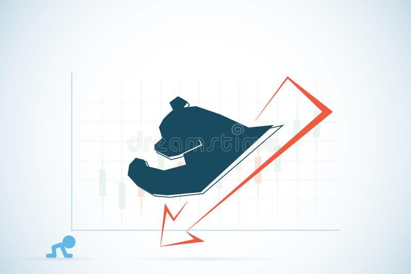 Niedźwiadkowy symbol z czerwienią i candlestick sporządzamy mapę, rynku papierów wartościowych i biznesu pojęcie, ilustracji