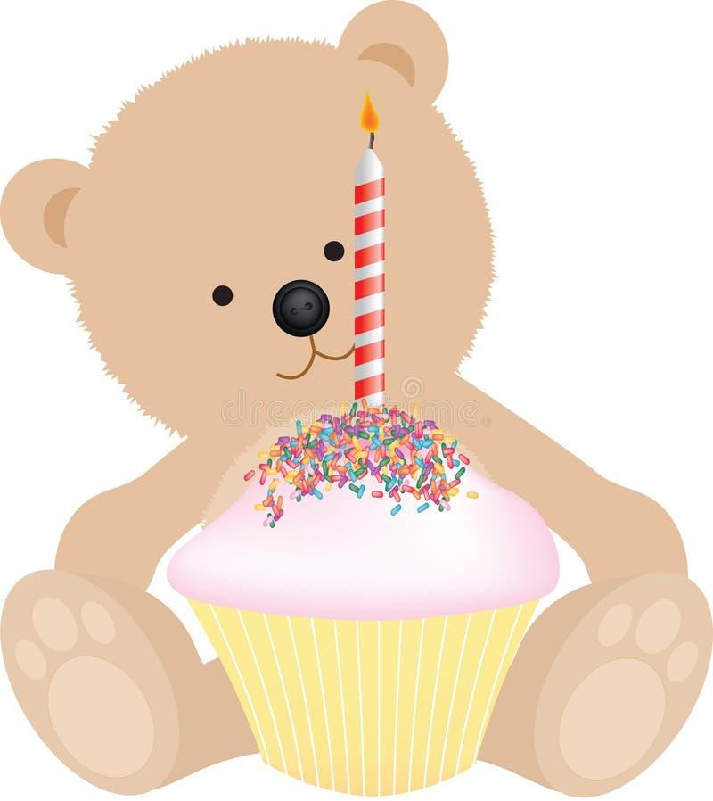 niedźwiadkowy urodzinowy szczęśliwy ilustracji