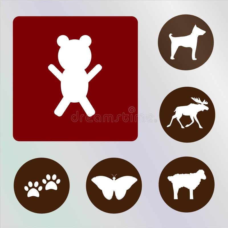 Niedźwiadkowy wektoru, ikony, ilustraci, czerwonego i brown backkckground, ilustracji