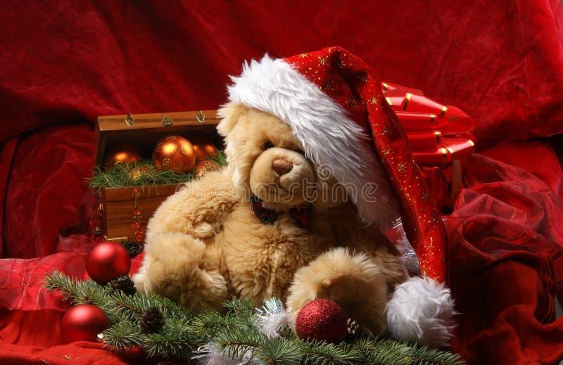 niedźwiadkowych bożych narodzeń kapeluszowy czerwony jedwabniczy miś pluszowy zdjęcie stock
