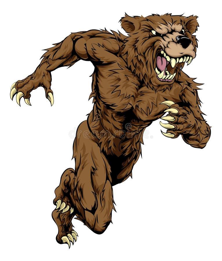 Niedźwiedź bawi się maskotka bieg ilustracji