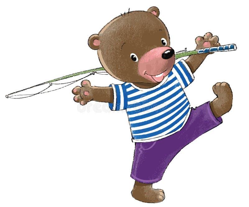 Niedźwiedź iść łowić. ilustracji