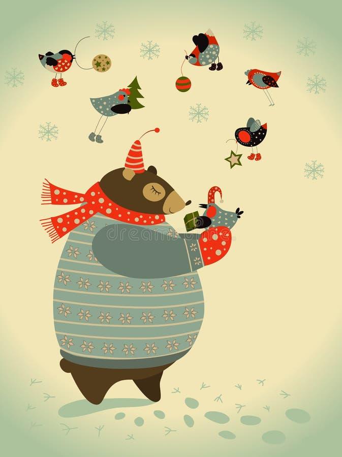 Niedźwiedź i ptaki świętujemy boże narodzenia ilustracja wektor