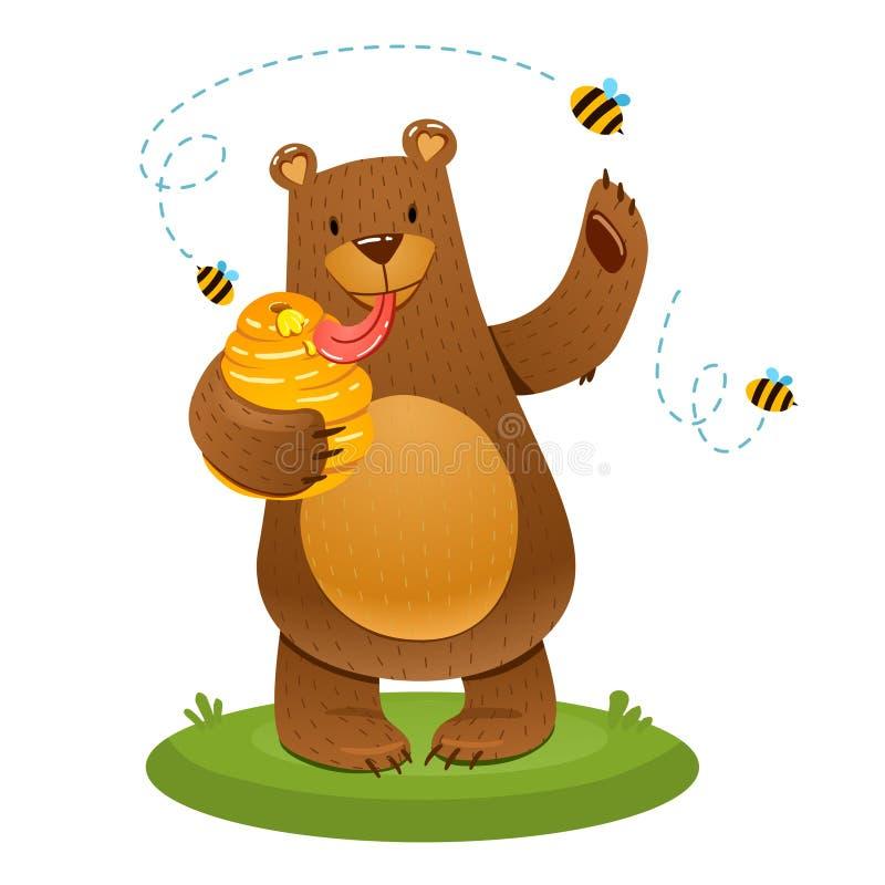 Niedźwiedź jest bardzo łasy miód ilustracja wektor