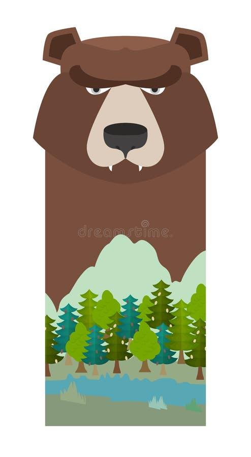 Niedźwiedź Kierowniczy grizzly niedźwiedź Szablon dla rezerwy i lasu parka L ilustracja wektor