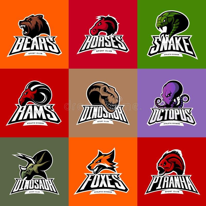 Niedźwiedź, koń, wąż, baran, lis, piranha, dinosaur, ośmiornicy głowa odizolowywał wektorowego loga pojęcie ilustracji