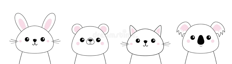 Nied?wied?, kr?lik, zaj?c, grizzly, koala, kot figlarki g?owy twarzy setu linia Doodle liniowy nakre?lenie R??owi policzki ?liczn ilustracji