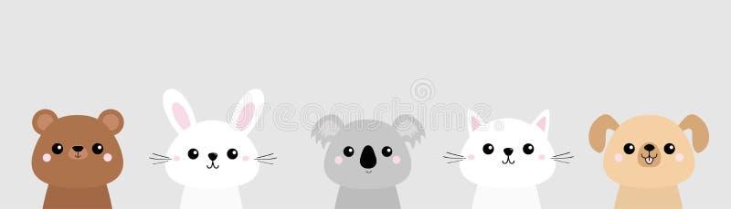Niedźwiedź, pies, kot figlarka, królik, zając, grizzly, koali głowy twarzy set Kolorowa sylwetka Różowi policzki Śliczny postać z ilustracja wektor
