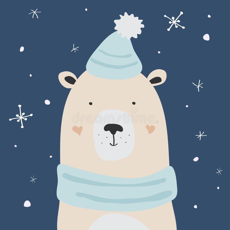Niedźwiedź polarny cieszy się śnieg, wektorowa kartka bożonarodzeniowa royalty ilustracja