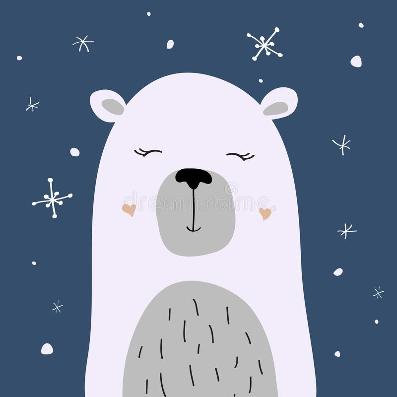 Niedźwiedź polarny cieszy się śnieg, wektorowa kartka bożonarodzeniowa ilustracja wektor