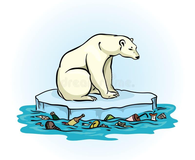 Niedźwiedź polarny i zanieczyszczający morze royalty ilustracja