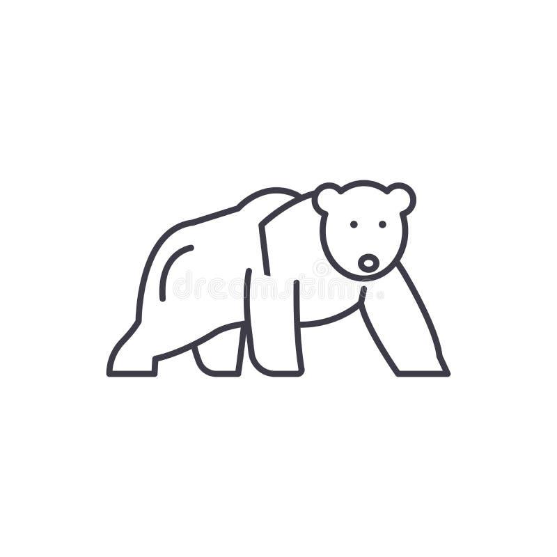 Niedźwiedź polarny ikony kreskowy pojęcie Niedźwiedź polarny wektorowa liniowa ilustracja, symbol, znak ilustracja wektor