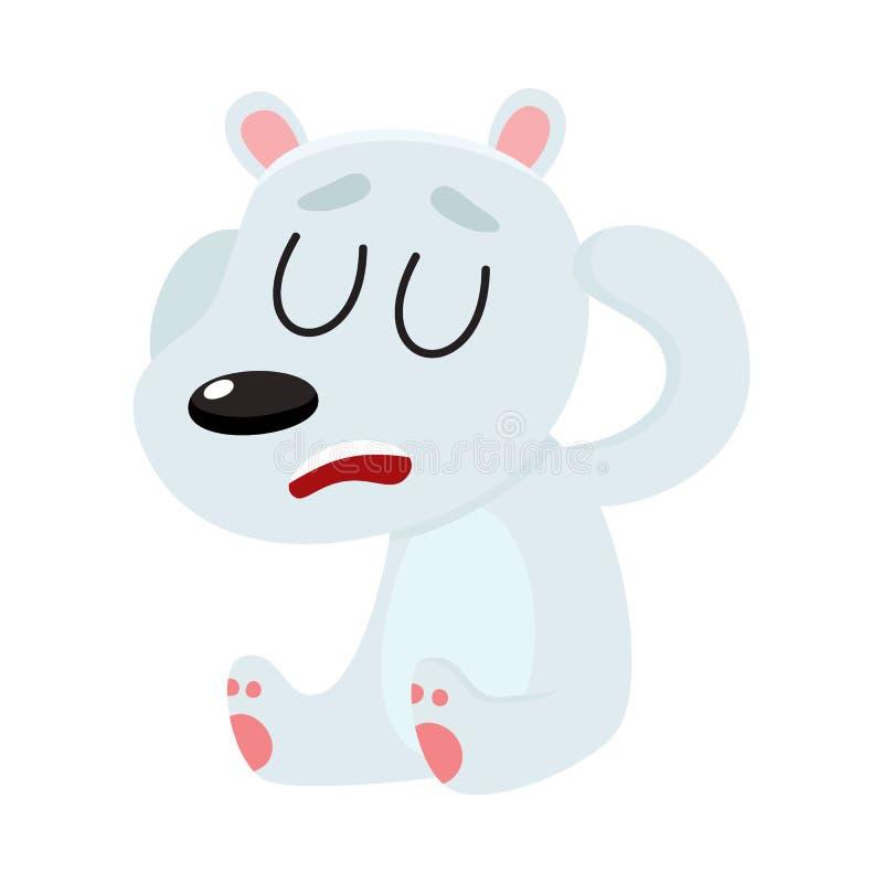 Niedźwiedź polarny ma migrenę, siedzący z zamkniętymi oczami, trzyma głowę ilustracja wektor