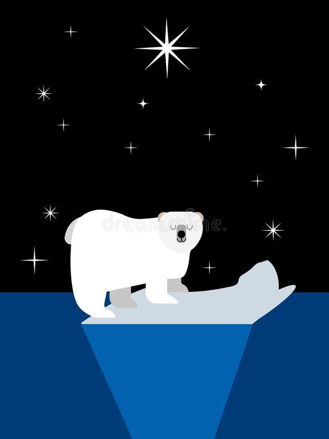 Niedźwiedź polarny na lodowym floe ilustracja wektor