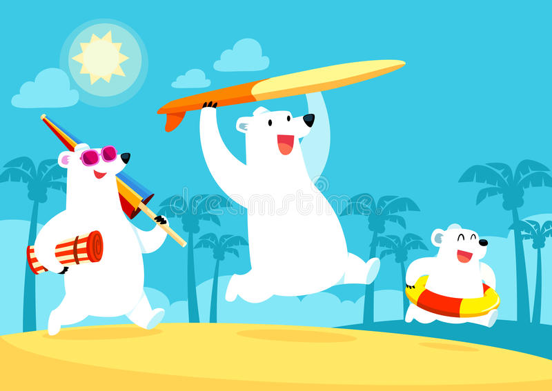 Niedźwiedź polarny rodzina na wakacje przy plażą royalty ilustracja