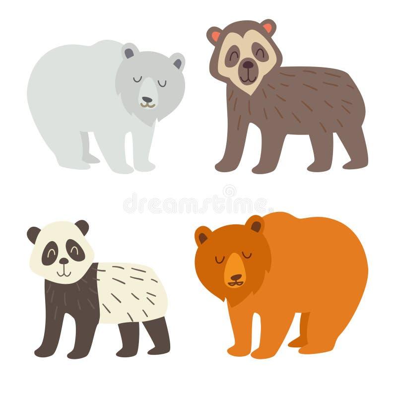 Niedźwiedź polarny, set, spectacled niedźwiedzia, pandy i brown niedźwiedzia, Płaska kreskówka wektoru ilustracja royalty ilustracja