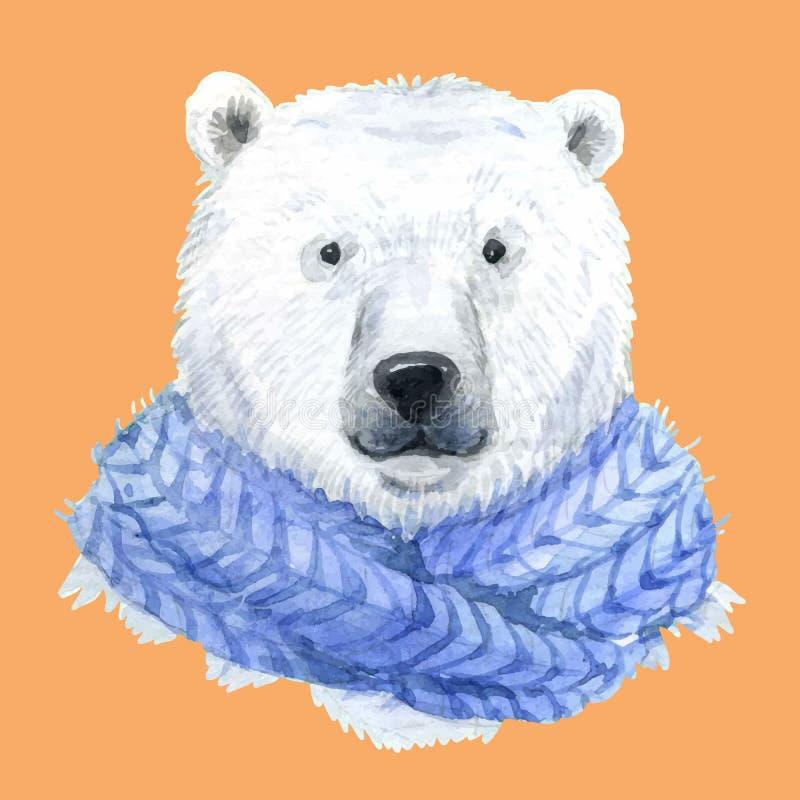 Niedźwiedź polarny w błękitnym szaliku royalty ilustracja