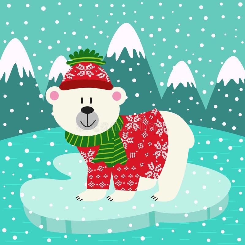 Niedźwiedź polarny w trykotowym pulowerze i nakrętce na lodowym floe ilustracji