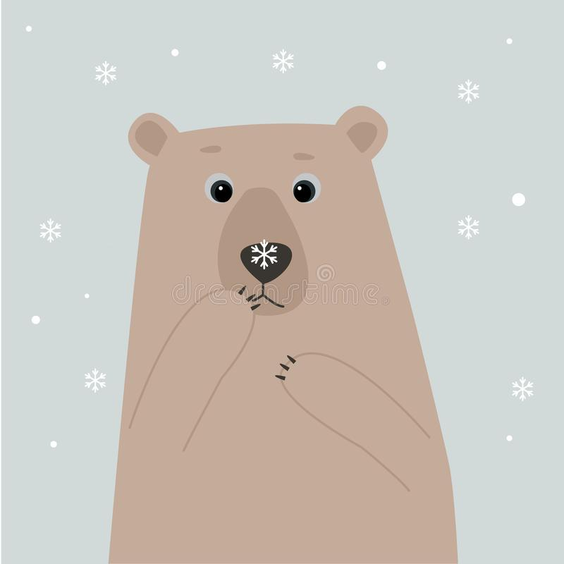 Niedźwiedź polarny z śnieżnym płatkiem na jego nosie royalty ilustracja