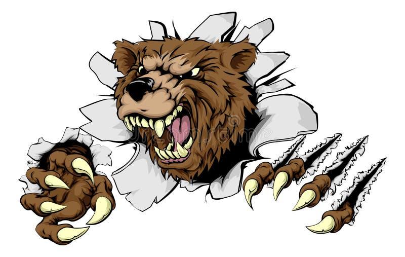 Niedźwiedź rozdziera przez tła ilustracja wektor