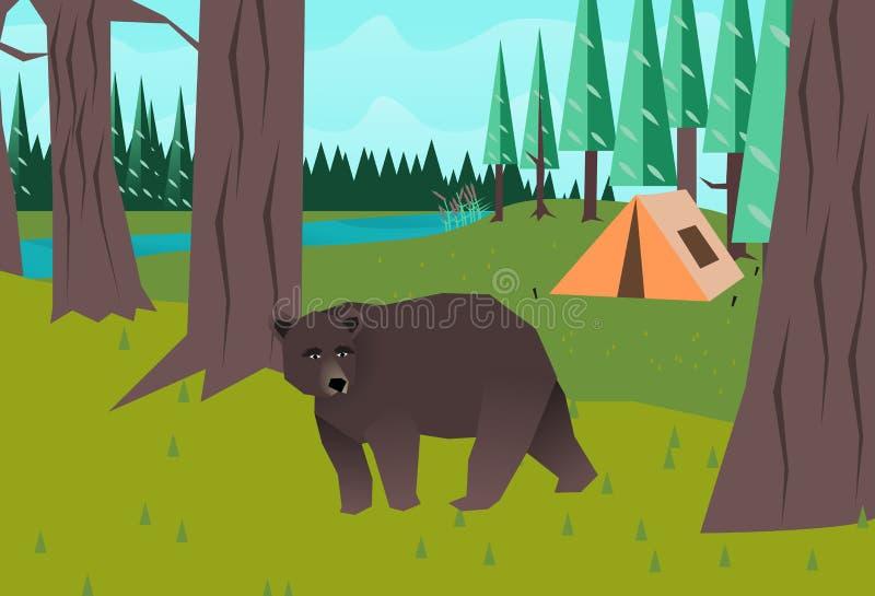 Niedźwiedź w drewnach wektorowych royalty ilustracja