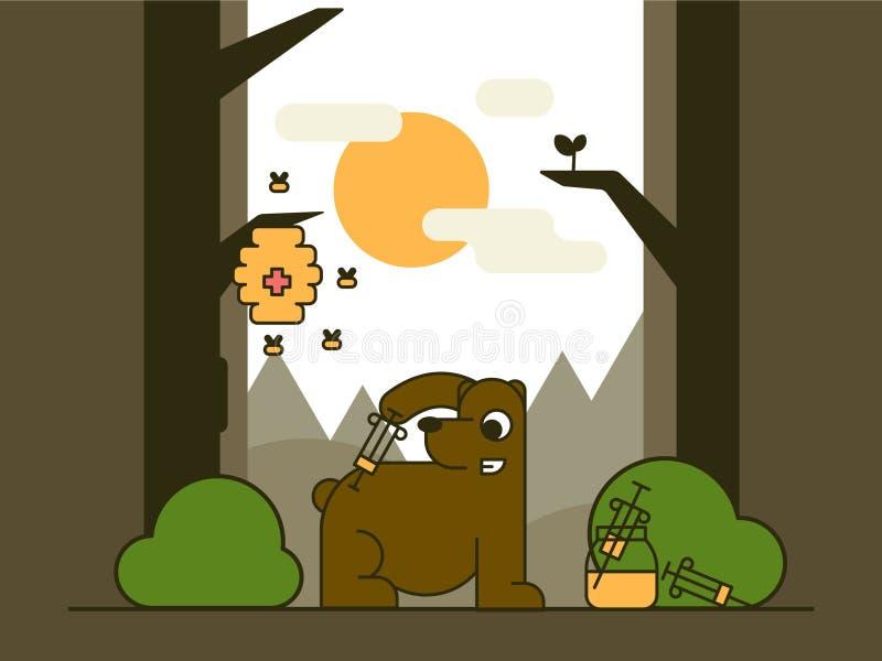 Niedźwiedź w lesie royalty ilustracja