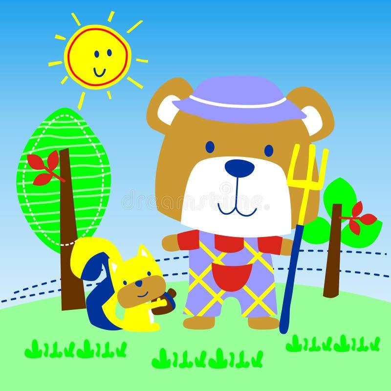 Niedźwiedź w rolnym wektorze ilustracja wektor