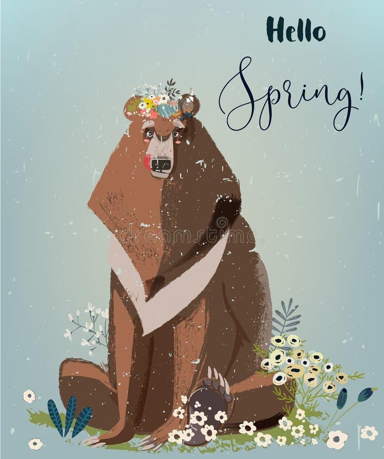 Niedźwiedź z kwiatami royalty ilustracja