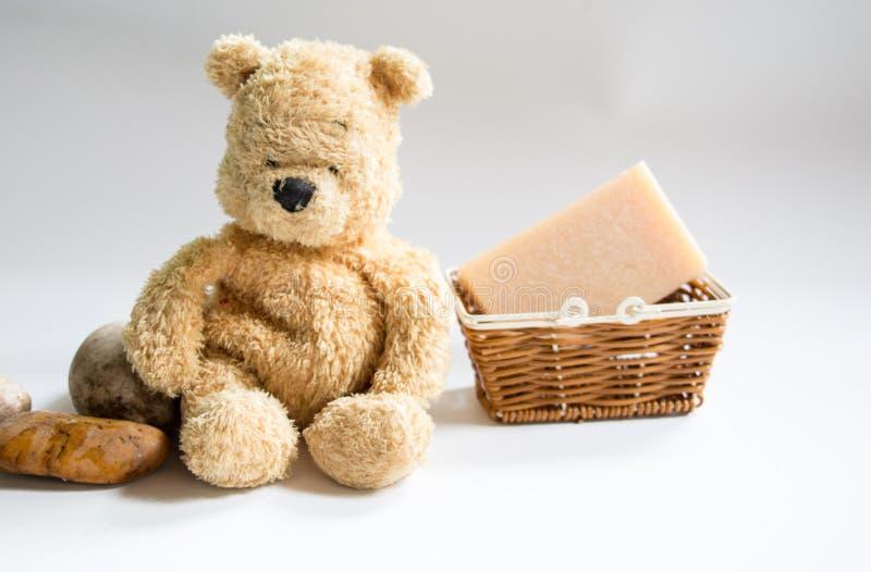 Niedźwiedź z mydłem zdjęcia royalty free