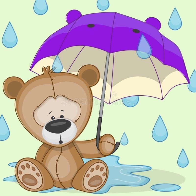 Niedźwiedź z parasolem royalty ilustracja