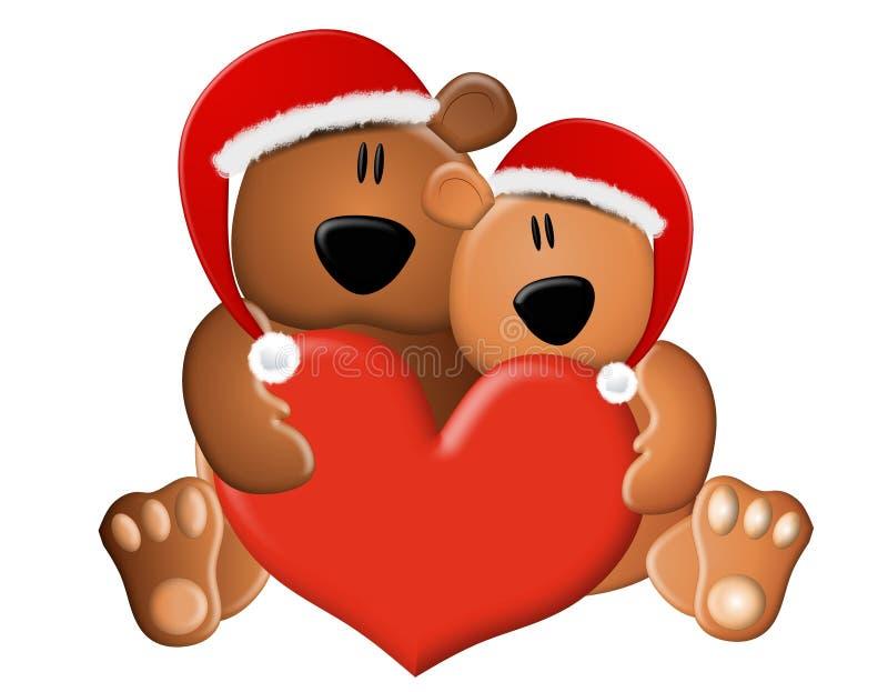 niedźwiedzi bożych narodzeń miłości miś pluszowy ilustracji