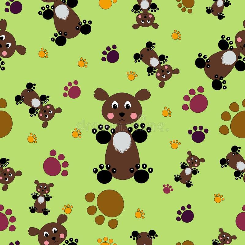 Niedźwiedzi i łap bezszwowy wzór wektor ilustracji