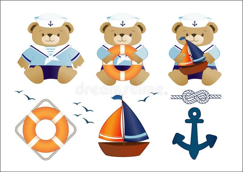 niedźwiedzi mały żeglarza miś pluszowy royalty ilustracja