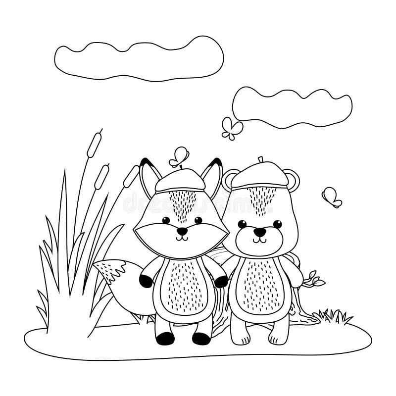 Niedźwiedzia i lisa kreskówki projekt ilustracja wektor