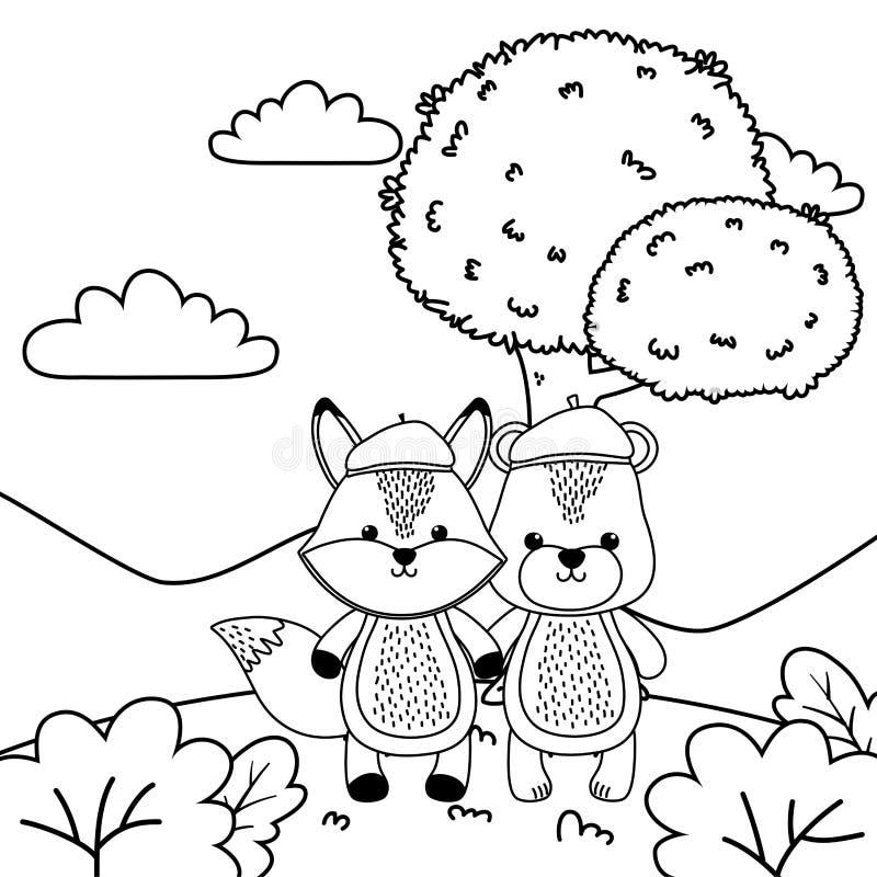 Niedźwiedzia i lisa kreskówki projekt ilustracji