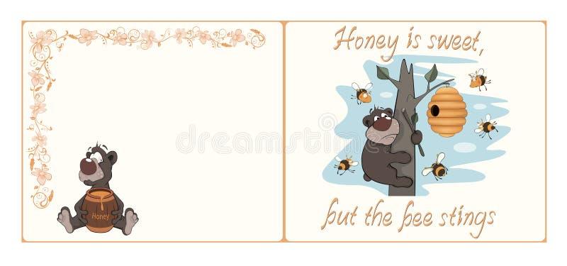 Niedźwiedzia i pszczoły pocztówki kreskówka ilustracji