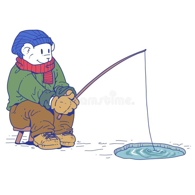 Niedźwiedzia polarnego łowić ilustracja wektor