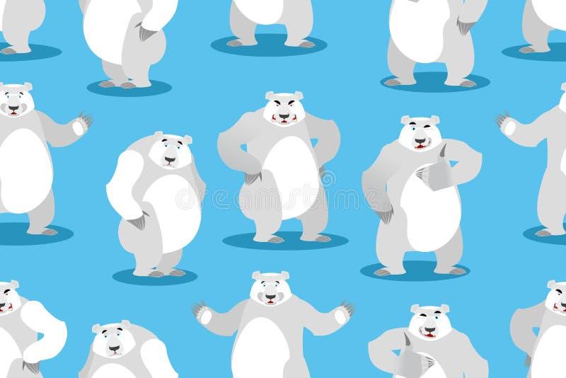 Niedźwiedzia polarnego bezszwowy wzór Ustawia dzikiego zwierzęcia Dzika bestia z ilustracji